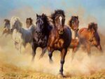 original paintings a drove of horses print