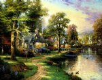 original paintings a group of cottages by the river in the twilight painting
