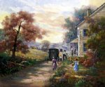 farm original paintings - a guest of a farm family by original paintings