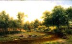 original a herd of cattle drinking by the river by original paintings