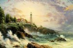 famous watercolor paintings - a light tower by the sea by original paintings