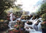 original a series of small waterfalls in the jungle by original paintings painting