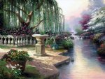 original paintings a weeping willow by the river of a park prints