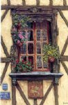 original acrylic paintings - a window and some flowers by original paintings