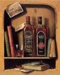 original paintings original paintings - books two bottles of grape wine on the shelf by original paintings