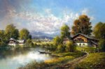 original paintings cottages by the lake painting