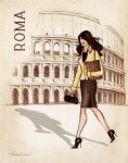original fair lady walking on the road of rome by original paintings