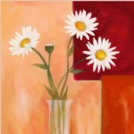 original paintings four white chrysanthemums in a glass painting