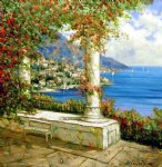 original paintings mediterranean scene column paintings