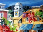 original paintings mediterranean scenery a bell tower and a group of buildings paintings
