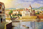 original paintings mediterranean scenery a group of buildings by the river paintings