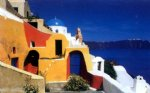 original paintings mediterranean scenery a house by the sea paintings