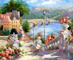 original paintings mediterranean scenery buildings and bridge paintings