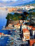 original paintings mediterranean scenery houses on the coast oil paintings