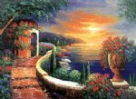 scenery acrylic paintings - mediterranean scenery the coastal scenery in the early morning light by original paintings