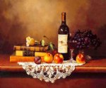 original paintings famous paintings - several books a bottle of red wine and some fruits on the table by original paintings