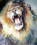 lion print - the head of roaring lion by original paintings