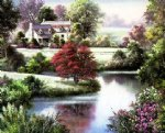original paintings two cottages by a lovely river painting