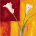 flower artwork - two white flowers in a glass by original paintings