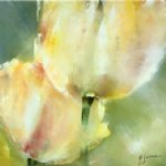original paintings two yellow tulips painting