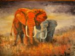 abstract elephants 3 by original painting