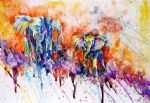 original   abstract elephants art