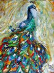 original oil paintings - abstract peacocks by original