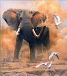original   dusty elephant with egrets painting