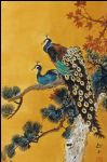 original   two peacocks on tree 2 painting-86749