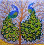 original   two peacocks on tree painting-86750