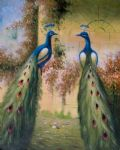 original   two peacocks painting