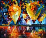 original abstract balloon sky painting