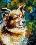 original abstract brown dog oil paintings