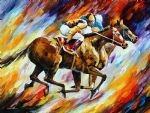original abstract final spurt horses art