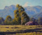 original australian mountain house trees landscape painting