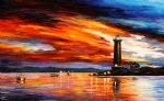 original by the lighthouse seascape oil paintings