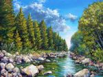 original canada mountain scenery landscape painting 86438