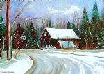 original christmas trees cozy country cabin winter scenery canada landscape painting 86458
