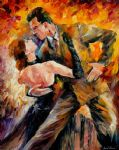 original classical tango dancers painting