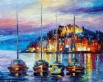 original evening harbor seascape prints