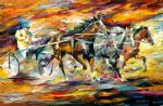 original flaming chariot horses painting