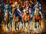 follow the leader horse racing by original paintings