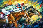 original horse racing dead heat painting