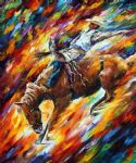 original horse rodeo dangerous games painting