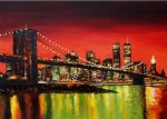 original modern new york landscape 3 paintings