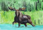 original moose in river ron enderland canada animal painting 86477