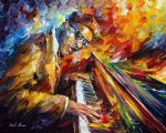 original piano music player painting