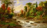original river and trees scenery canada landscape painting-86493