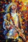 original rock guitarist music player oil paintings