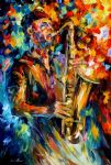 original saxophone music player painting